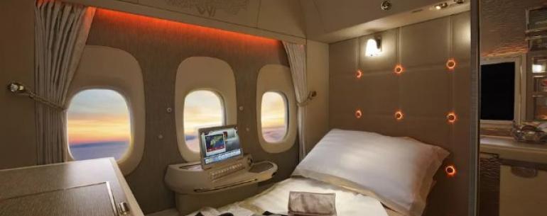 Новые первоклассные апартаменты Emirates оснащены виртуальными окнами и сиденьем с нулевой гравитацией